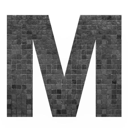 old english letters: English alphabet letter M with black mosaic background photo isolated on white background