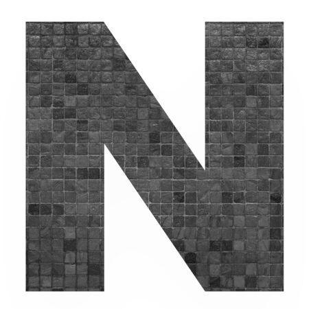 mosaic background: English alphabet letter N with black mosaic background photo isolated on white background