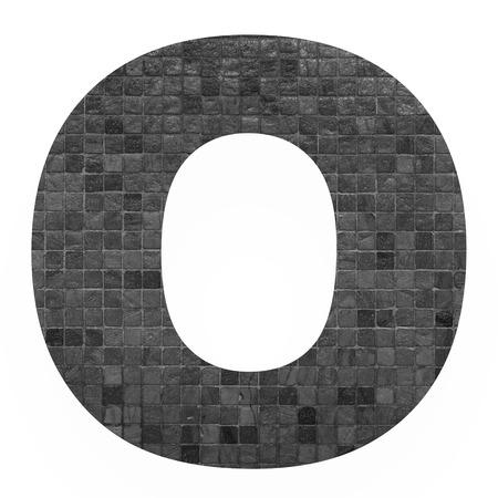old english letters: English alphabet letter O with black mosaic background photo isolated on white background Stock Photo