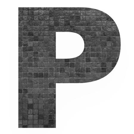 old english letters: English alphabet letter P with black mosaic background photo isolated on white background Stock Photo