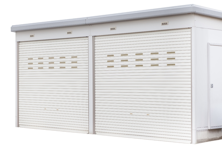 storage unit: Exterior of white storage unit or small warehouse at house