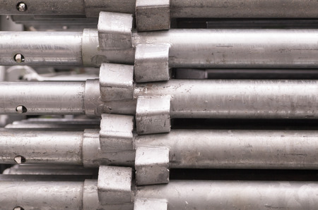 metal pipes: Close - up Stack of construction metal pipes
