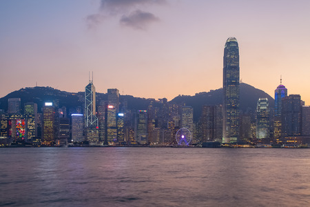 hong kong island: Panorama view of Hong Kong island building in twilight time