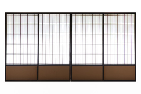 Japanese wood slid door isolated on white background Stock Photo