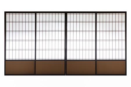 Japanse houten gleed de deur op een witte achtergrond