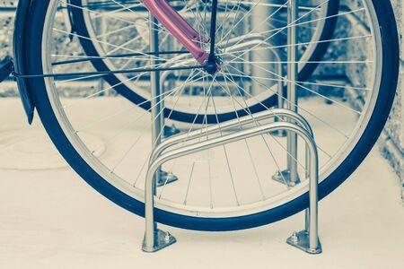 locked: Locked bicycle at bicycle outdoor parking space