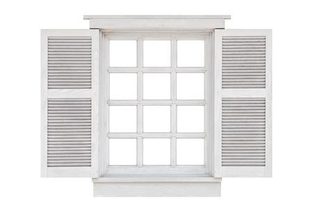 Holzfensterrahmen isoliert auf weißem Hintergrund