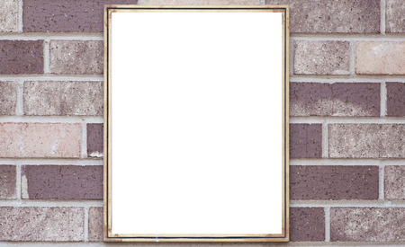 metal sign: Blank metal sign board on brown brick wall background Stock Photo