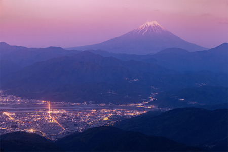 glory of the snow: Mt.Fuji and Kofu city in early morning