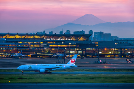 Mountain Fuji in evening seen from Tokyo international airport