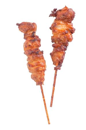 chicken satay: Chicken satay � grilled chicken skewers isolated on white background
