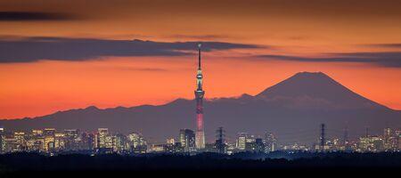 富士山と東京スカイツリーをランドマークと東京夜景