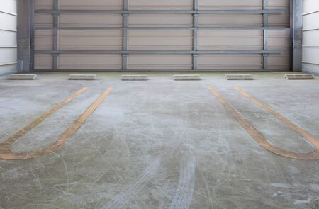 empty space: Empty space of indoor car parking lot Stock Photo