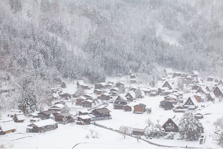 world village: World Heritage Site Shirakawago village with snow in winter