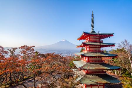 chureito: Chureito pagoda and Mountain Fuji with autumn leaves in the morning