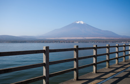 Mountain fuji and Yamanakako lake in moring autumn season