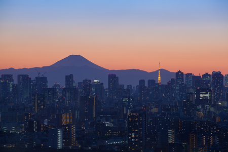 tokyo city: Tokyo city view with Mount Fuji and Tokyo tower landmark Stock Photo