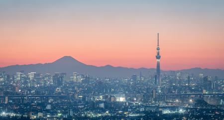 Tokyo city view and mountain fuji at sunset Editorial