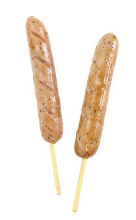saucisse grillée Tasty isolé sur un fond blanc