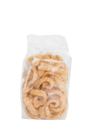 crackling: Pork crackling , Fried or roasted pork rind and fat isolated on white background Stock Photo