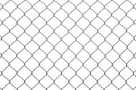 Iron wire fence isolated on a white background Imagens - 63088628