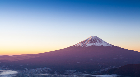 Mt.Fuji and Kawaguchiko lake with sea of mist in autumn season