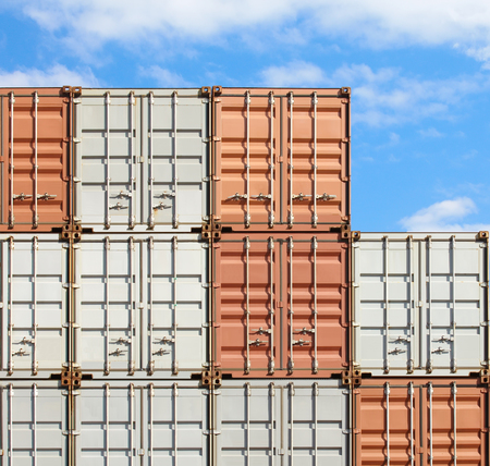 inter: Colorful stack of container shipping at dockyard