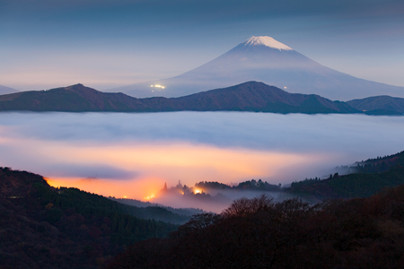 fuji san: Mt.fuji and sea of mist above lake ashi at Hakone in autumn early morning