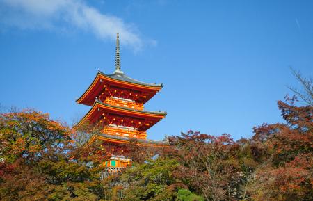 Wood pavilian and autumn tree in Kiyomizu temple at kyoto