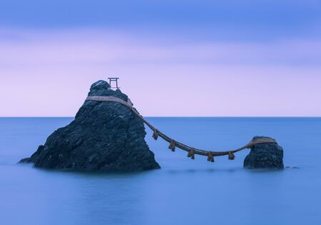 Meoto Iwa (the Wedded Rocks) are two sacred rocks in the ocean near Futami, a small town in Ise City Editorial