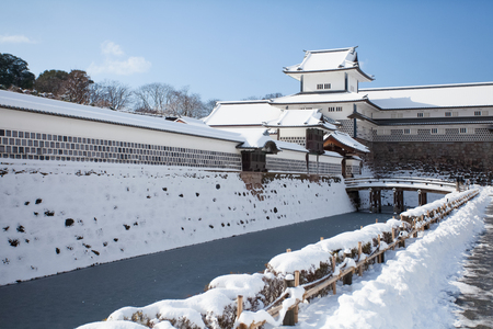 Kanazawa Castle Park with snow in winter season Editorial