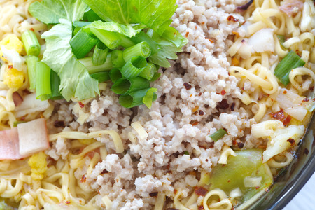noodles soup: Instant noodles soup with grounded pork and green vegetable