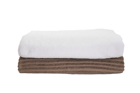 white towel: Stack of white towel and brown towel isolated on white background Stock Photo