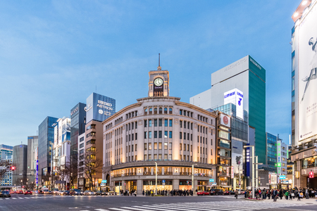 retail scene: TOKYO, JAPAN - January 18 , 2017 : Cityscape in the Ginza District. The district offers high end retail shopping.