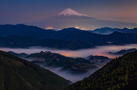 Mt. Fuji at night with sea of mist