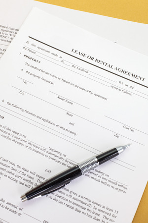 agency agreement: Close - up Lease or Rental agreement form Stock Photo