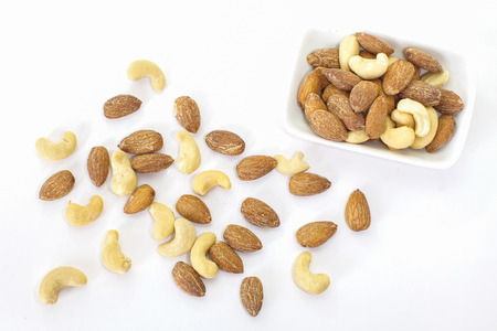 Close - up Healthy mixed nuts , Almond , Cashews nut