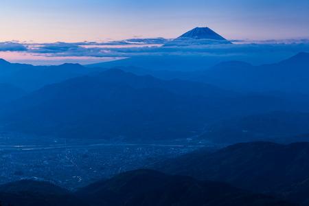 Mt.Fuji and Kofu city in early morning