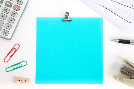 Blank color paper note with metal paper clip
