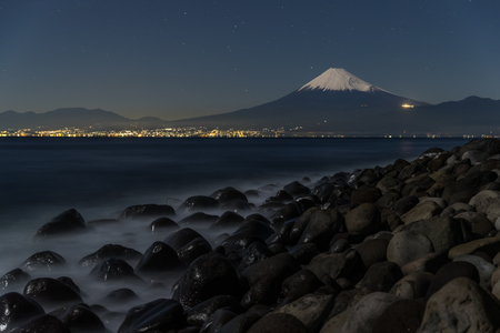 prefecture: Mountain Fuji with starry night and suruga sea at Hida town , Shizuoka prefecture , Japan