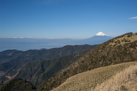 prefecture: Mountain Fuji and Suruga bay in winter season at Shizuoka prefecture. seen from Mt. Daruyama , Izu city Stock Photo