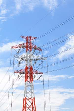 Electric transmission line with nice blue sky Stock Photo