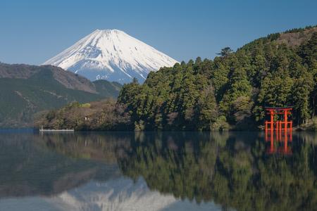 Beautiful Lake ashi and mt. Fuji in autumn season Stock Photo