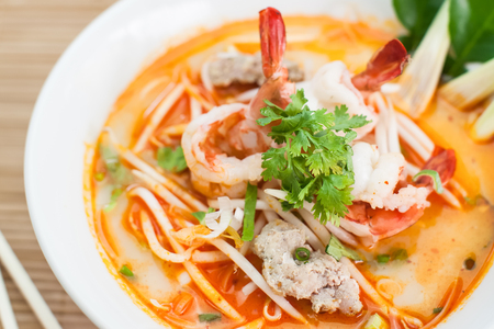 White noodle with Sour prawn soup or Tom Yum Kung noodles Stock Photo