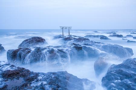Japanese shrine gate and sea at Oarai city , Ibaraki