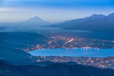 Mountain Fuji and Lake Suwa in early morning Reklamní fotografie