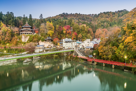 Enzoji Temple at Fukushima prefecture in autumn Editorial