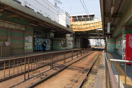 Osaka , Japan - Mar 19 , 2017 : Shin Imamiya Ekimae , Shin Imamiya Ekimae station is a stop on the Hankai Tramway Hankai Line.