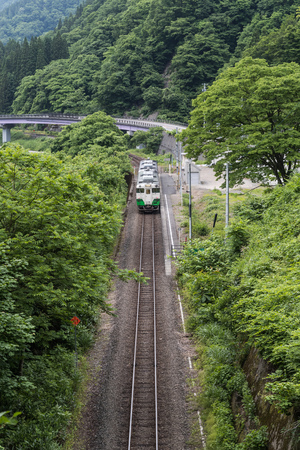 Tadami railway line in summer season at Fukushima prefecture.