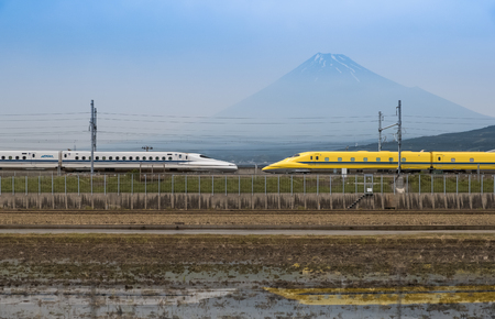 Mountain fuji and Doctor Yellow , Shinkansen the high-speed test trains  Editorial